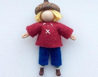 Little Acorn Boy -- Waldorf Inspired Doll