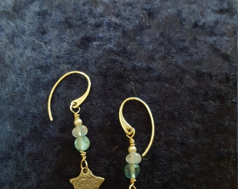 Sterling Silver Swirled Star Apatite and Rainbow Moonstone Dangle Earrings