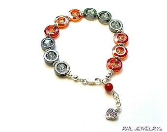 Crystal Bracelet - Black Hematite Bracelet - Orange and Black Bracelet - B2016-13