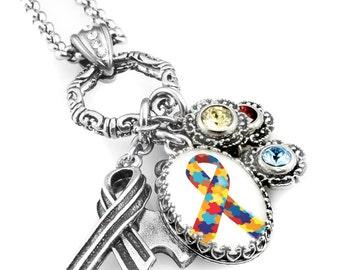 Autism Awareness Charm Necklace, Autism Jewelry, Autism Pendant, Awareness Jewelry