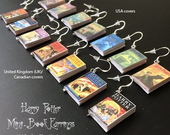Harry Potter Mini Book Charm Earrings - UK or USA version (set of 7 books)