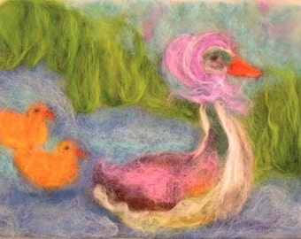 MOTHER GOOSE blessing card-print of my wool painting for children-art for kids