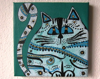 Srtiped Cat Acrylic Painting on canvas Blue Green Gold