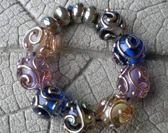 Silver Glass Scrolls LAMPWORK Pair Lampwork Beads by Cherie Sra R114 Flameworked Glass Beads Double Helix Scroll Bead Blue Gray Lavender