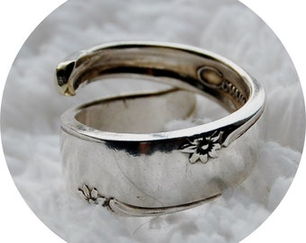 Flare, Simple Silver Spoon Ring, Size 4 to 7