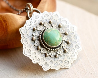 Turquoise Necklace, Botanical Necklace, Flower Necklace, Unique Metalwork, Artisan Jewelry, Boho Chic Jewelry, 925 Silver Pendant,Metalsmith