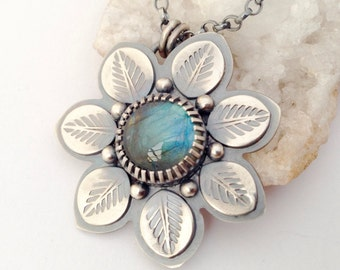 Silver Labradorite Necklace, Botanical Necklace, Bohemian Style Necklace, Metalsmithed Flower Necklace, Hand Stamped Metalwork Necklace