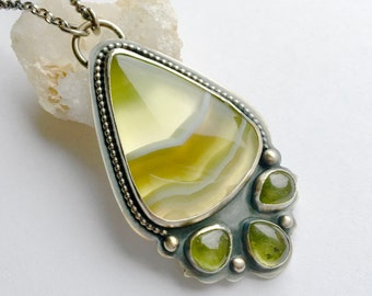 Banded Agate Necklace, Peridot Necklace Handmade in Silver, Green Gemstone Necklace, Art Jewelry, Handmade Artisan Bezel Work Necklace