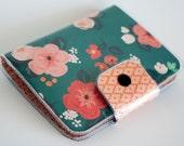 Handmade Vinyl Passport Case - Wild Spirit / travel, passport, vinyl, woman's, wallet, snap, paper, floral, pretty, green, pink, flowers