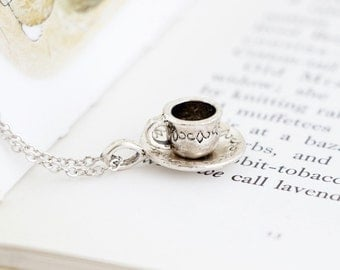 Silver Tea Cup Necklace - Alice in Wonderland - Gift For Tea Lover - Gift For Mom - Tea Cup Charm Necklace - Girlfriend Gift