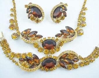 Large Vintage Rhinestone Necklace Set