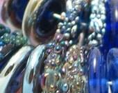 Blue by You Handmade Glass Lampwork disc disk Beads filler focal glass art