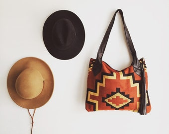 TOTE Bag /// RUST BROWN southwestern pattern with black leather
