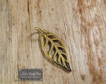 HOT SALE - Gold Leaf Charm, Natural Bronze Openwork Leaf Pendant, Supplies for Making Jewelry, Nature Charm for Necklace or Bracelet (Ch 815