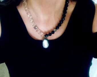 Black Pave Large Baroque Pearl asymmetrical Necklace-Statement Big pearl Necklace-Crystal Quartz Onyx gem Necklace-black white necklace