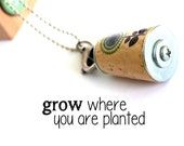 GROW Where Planted Necklace - Flower, Floral, Stamped Custom Initial Charm, Cork in Test Tube and Cube - Uncorked