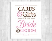 Printable Cards & Gifts for Bride and Groom 8x10 Brown and Pink Card Box Wedding Sign - Instant Download