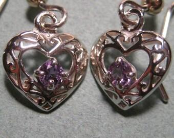 Amethyst Earrings ... Sterling Silver ..... Hearts  ..........   e832