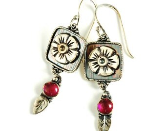 Flower Box Earrings - Sterling Silver Floral Earrings with Hypoallergenic Ear Wires