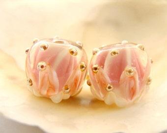 RESERVED - Lotus Flowers Handmade Lampwork Bead Pair