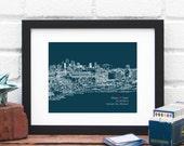 Art Print, Kansas City art, Personalized Engagement Gift, Wedding Skyline Gift, KC Wedding Couple Art, Personalized urban art