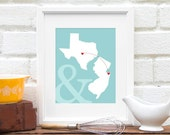 Long Distance Best Friend Two State Map, Gift for Mom State-to-State Personalized Deployment, Gift For Boyfriend, Fiance - 8x10 Art Print