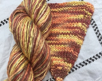 Hand Dyed Worsted weight Silk Yarn - Chocolate Citron (2)