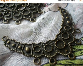 20% off sale Brass Ox Necklace Base Crescent Finding with Settings and 7 Loops 4 Pcs