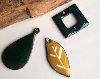 Enamel on Copper, Green Enamel, Enamel Leaf, Yellow Enamel, Destashed, Enamel Pieces, Pendants, Charms, Etsy, Etsy Jewelry, Etsy Supplies