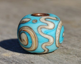 Turquoise Graffiti - K O Lampwork Beads - copper cored lampwork bead for Add A Bead European Style Chains