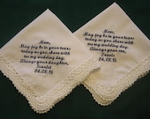 Mother of the Bride and Groom Handkerchiefs  201S Set of 2 Mother In Law, Mother Wedding, Set of 2, Wedding Gift, EmbroiderybyLinda