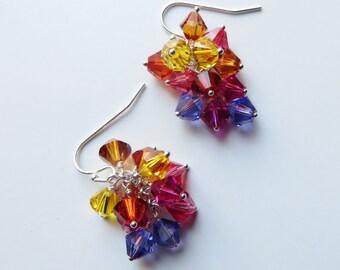 Summer Sun Earrings - Swarovski Cystal, Sterling Silver