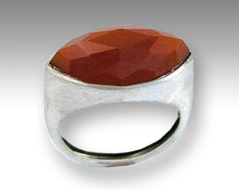 Carnelian ring, Marquise stone ring, statement ring, Silver stone ring, Sterling silver ring, rustic orange ring - First impressions R1225