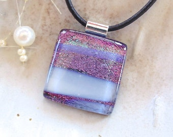 Purple Necklace, White, Dichroic Glass Pendant, Fused Glass Jewelry, Necklace Included, A8