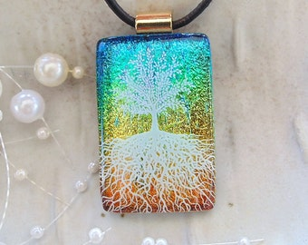 Tree of Life Dichroic Glass Pendant, Fused Glass Jewelry, Necklace, Aqua, Gold, Necklace Included, A5