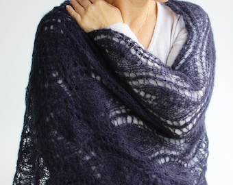 Large lace navy blue SCARF-SHAWL-WRAP-ready to ship