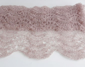Large lace SCARF-SHAWL-WRAP,  pale brown color-ready to ship