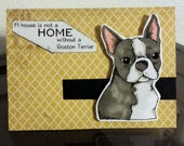 Handmade Card Boston Terrier Puppy Dog Card by JLMould - using copic markers and rubber stamps