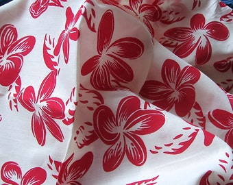 Cotton fabric red white floral   - sewing supplies - quilting fabric - never used-