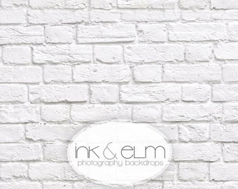 """Vinyl Product Photography Backdrop 2ft x 2ft, Fresh White Brick Wall Backdrop, Food and Cake Photography Background """"Great White Brick"""""""
