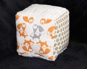 Orange and Gray Foxes and Chenille Fabric Block Rattle