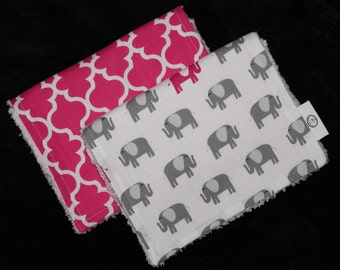 Set of 2 Pink and Gray Elephants and Cinquefoil Chenille Burp Cloths