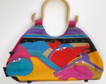 Laurel Burch designer vintage tote beach bag purse hand painted bamboo handles horses Southwestern boho