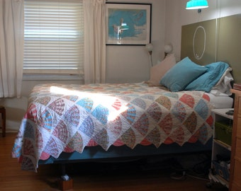 vintage bedspread quilt 84 x 92 inches  made of 7 inch square panels with fan shape in pink, baby blue pale aqua white cotton sewing fabric