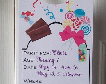 BIRTHDAY INVITATION Door Hangers - Hotel Slumber Party - Single or Double Sided for Guests - Sweets Treats Candy
