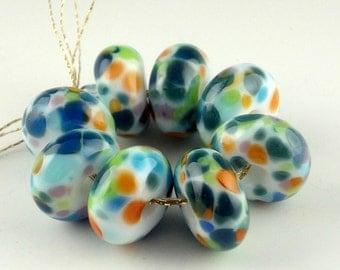 Lampwork Glass Beads, Handmade lampwork bead set, jewelry supplies, lampwork spacer bead, artist lampwork, Confetti