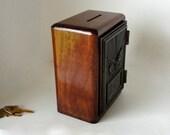 Walnut Lockbox Safe Bronzed Eagle Post Office Door Key Keyed Lock Box Mailbox Retirement 5th 8th Anniversary Gift Wooden Bank Keepsake Box