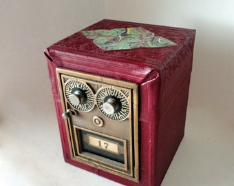 Embossed Leather Wood Marble Safe Vintage Bronze Post Office Door 507 MailBox Bank Combination Postal Lockbox groomsman 3rd 8th Anniversary