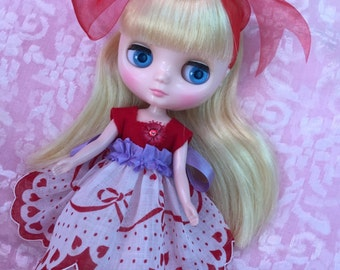 Holiday SALE!!..Middie Blythe.. Doll Dress+ Handmade Wooden Peg Doll in a Pretty Gift Bag...Handmade and Ooak