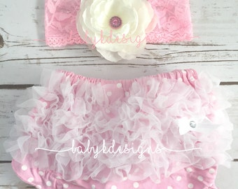 SAVE 15% BABY K Designs Baby Bum Chiffon Ruffle Diaper Cover Bloomer n Flower Lace Headband More Colors  Pink yellow Red Purple